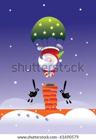 santa and parachute - stock vector