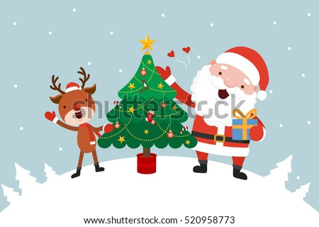Santa and Reindeer with Christmas tree.