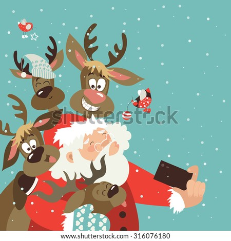 Santa and reindeers take a selfie. Vector illustration - stock vector