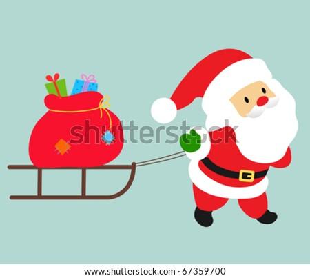 santa and sledge - stock vector