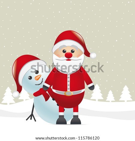 santa and snowman - stock vector
