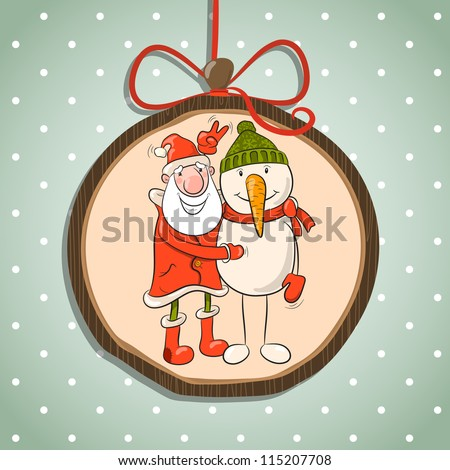Santa and snowman in a winter cap. Vector Illustration of Christmas theme