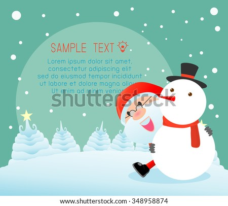 santa and snowman,Merry Christmas, Happy new year, Merry Christmas design with wide copy space, Santa Claus,card, background card greeting, Vector Illustration - stock vector