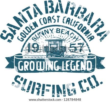 Santa Barbara surfing, artwork for t shirt print, 2 custom colors - stock vector