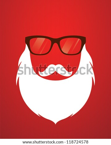 Santa beard and glasses.Vector illustration - stock vector