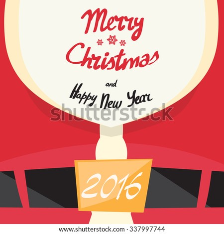 Santa Beard Merry Christmas Happy New Year Close Up Clothes With Copy Space Flat Vector Illustration - stock vector