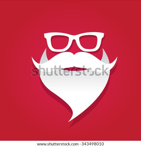 Santa beard vector .Christmas hipster poster for party or greeting card. Santa Hipster Claus. vector merry christmas art design. - stock vector