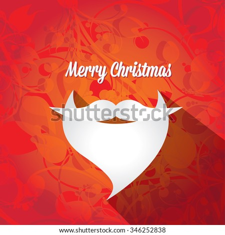 Santa beard vector .Christmas hipster poster for party or greeting card . Santa Hipster Claus. vector merry christmas art design. - stock vector