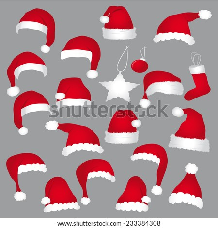 Santa caps and christmas decorations. Vector set. - stock vector
