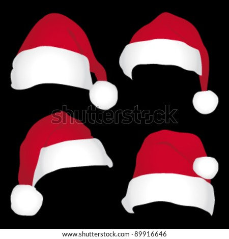 Santa caps isolated on black background. vector icons set.