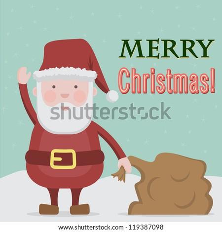 Santa card - stock vector