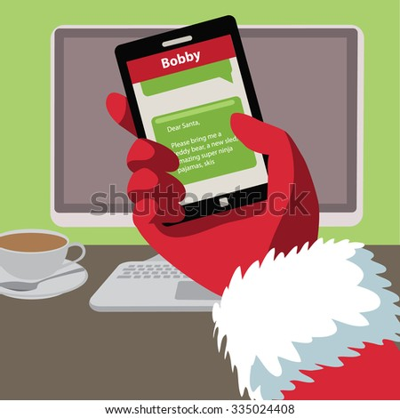 Santa checks his text messages for letters from children. Flat design EPS 10 vector illustration - stock vector