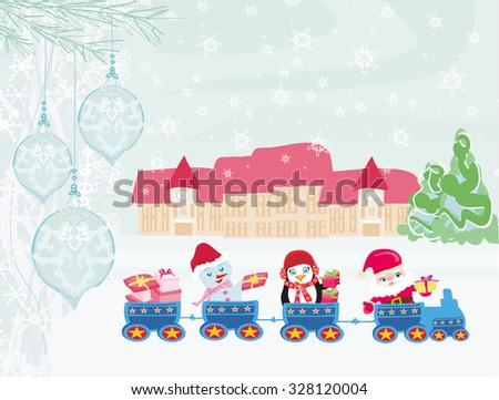 Santa Christmas Train - stock vector
