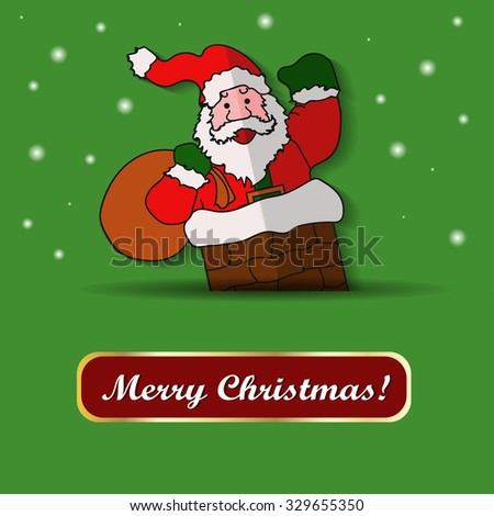 Santa Claus above a green background