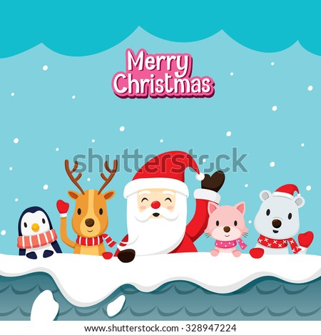Santa Claus And Animals On Roof, Merry Christmas, Xmas, Happy New Year, Objects, Animals, Festive, Celebrations - stock vector