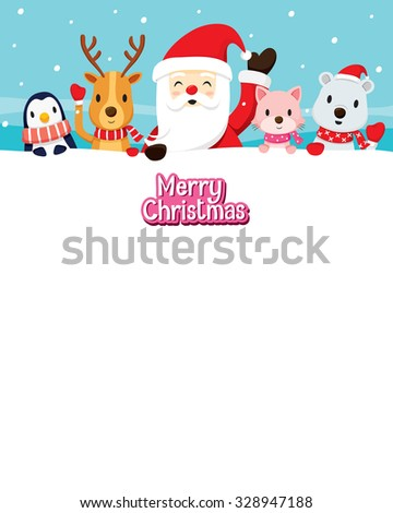 Santa Claus And Animals On Snow, Merry Christmas, Xmas, Happy New Year, Objects, Animals, Festive, Celebrations - stock vector
