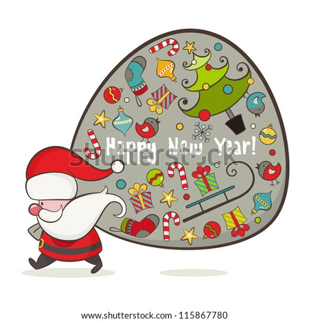 Santa Claus and bag with gifts. EPS 8 vector illustration for Christmas design.