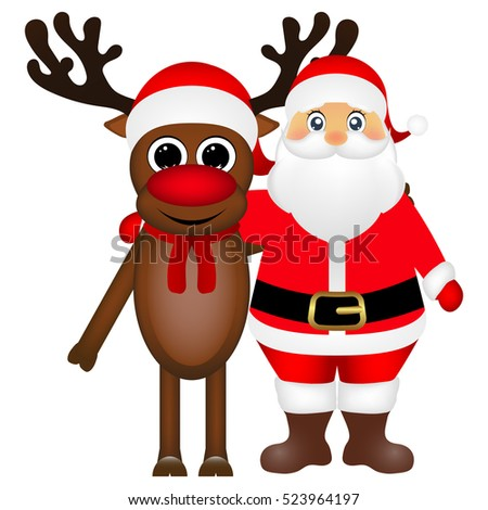 Santa Claus and Christmas reindeer are standing on a white background