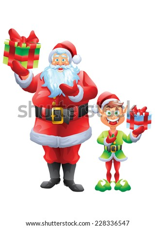 Santa claus and elf holding present gift isolated