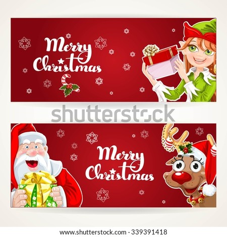 Santa Claus and Elf with gift on two Christmas horizontal blank banners on a white background - stock vector
