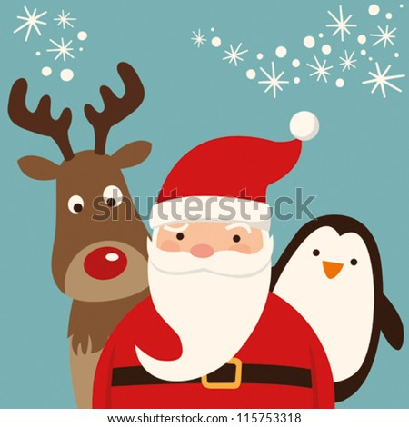 Santa Claus and friends - stock vector