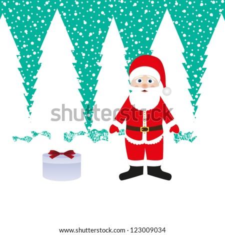 Santa Claus and gift - stock vector
