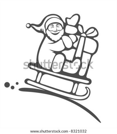 Santa Claus and gift box on  a white background. Christmas illustration. - stock vector