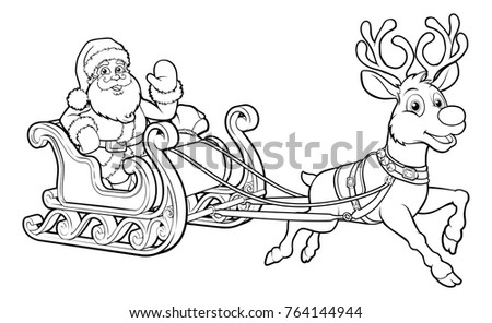 reindeer pulling sleigh coloring pages - photo#19