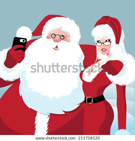 Santa Claus and Mrs. Claus take a selfie. EPS 10 vector - stock vector