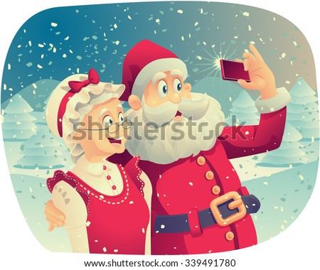Santa Claus and Mrs. Claus Taking a Photo Together - Vector cartoon of Santa Claus and his wife taking a Christmas picture together.   - stock vector