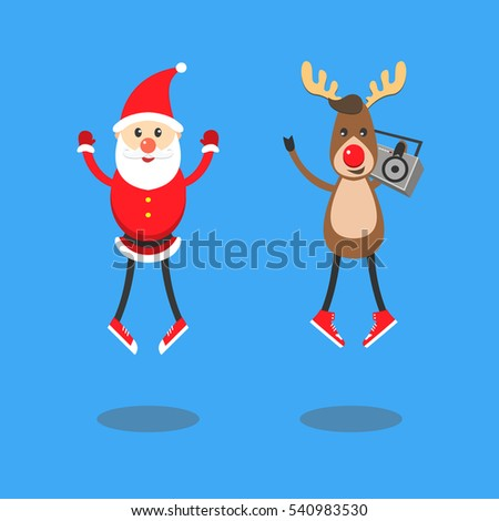santa Claus and Reindeer. Characters having fun, jumping listening to music, modern fashion concept. Santa dressed in red classic sneakers. Reindeer holding a retro boom box. Vector cartoon flat style