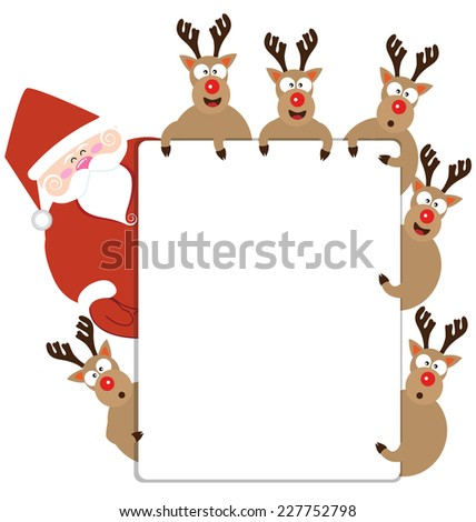 Santa claus and Reindeer present Christmas card vector - stock vector