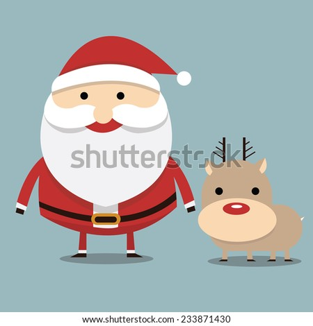Santa claus and reindeer red nose, flat design - stock vector