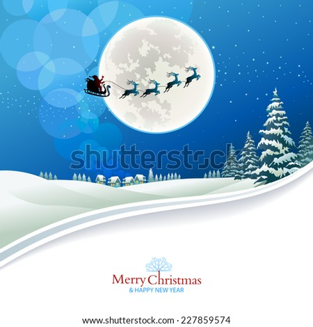 Santa Claus and reindeers flying in the night sky - stock vector