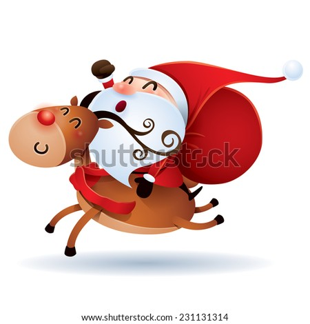 Santa Claus and Rudolph - stock vector