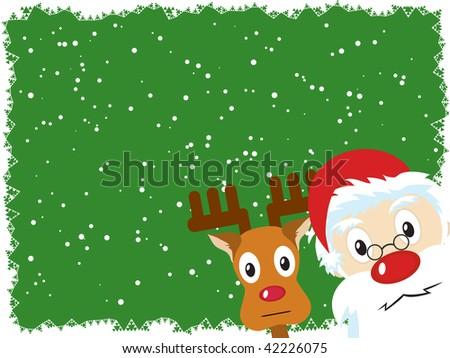Santa Claus and Rudolph Christmas Card - stock vector