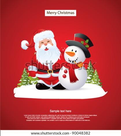 Santa Claus and Snowman - stock vector