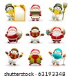 santa claus and snowman set - stock photo