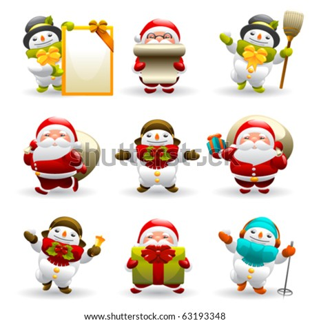 santa claus and snowman set - stock vector