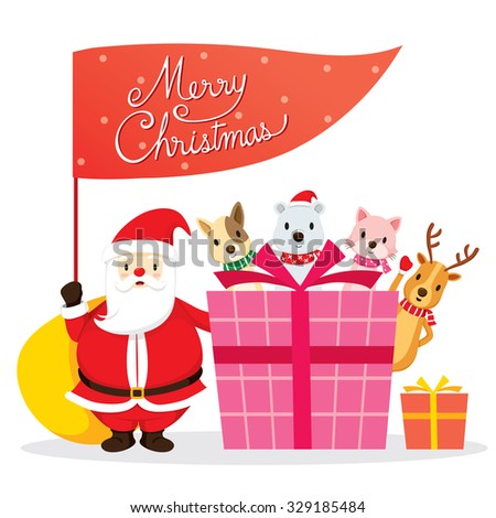 Santa Claus, Animals And Gift Box, Merry Christmas, Xmas, Happy New Year, Objects, Festive, Celebrations - stock vector