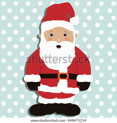 Santa claus baby cartoon, template postcard greeting. new year vector illustration