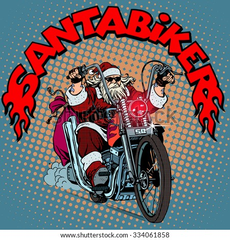 Santa Claus biker motorcycle Christmas gifts pop art retro style - stock vector