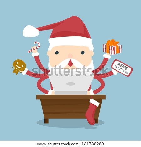 Santa Claus busy. Santa Claus is busy with preparations to distribute gifts to children at Christmas. Santa Claus working on laptop computer. - stock vector