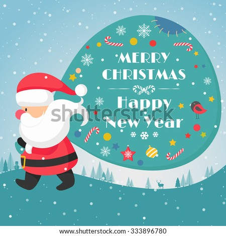 Santa Claus Carrying his Sack. Greeting Card. Vector Illustration - stock vector