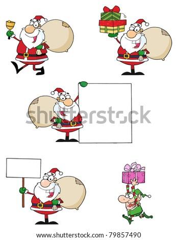 Santa Claus Cartoon Characters-Vector Collection - stock vector