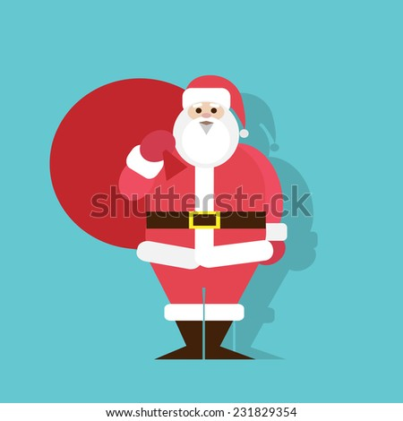 Santa Claus Cartoon flat icon design christmas holiday vector illustration - stock vector
