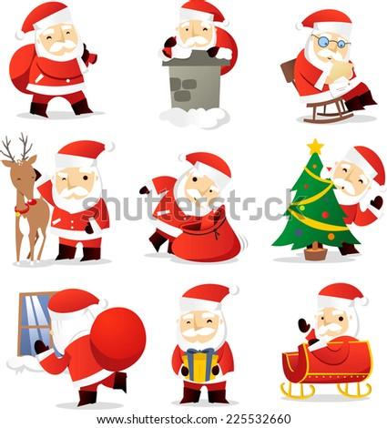 Santa claus cartoon icons vector cartoon illustration - stock vector