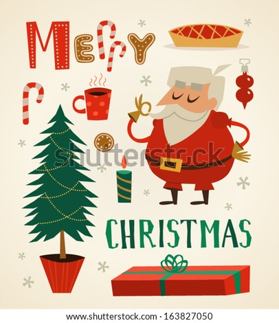 Santa Claus character and other elements. Christmas background. Vector illustration. - stock vector