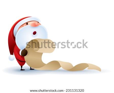 Santa Claus checking list. - stock vector