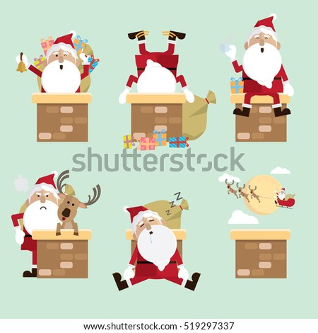 santa claus chimney Collection vector